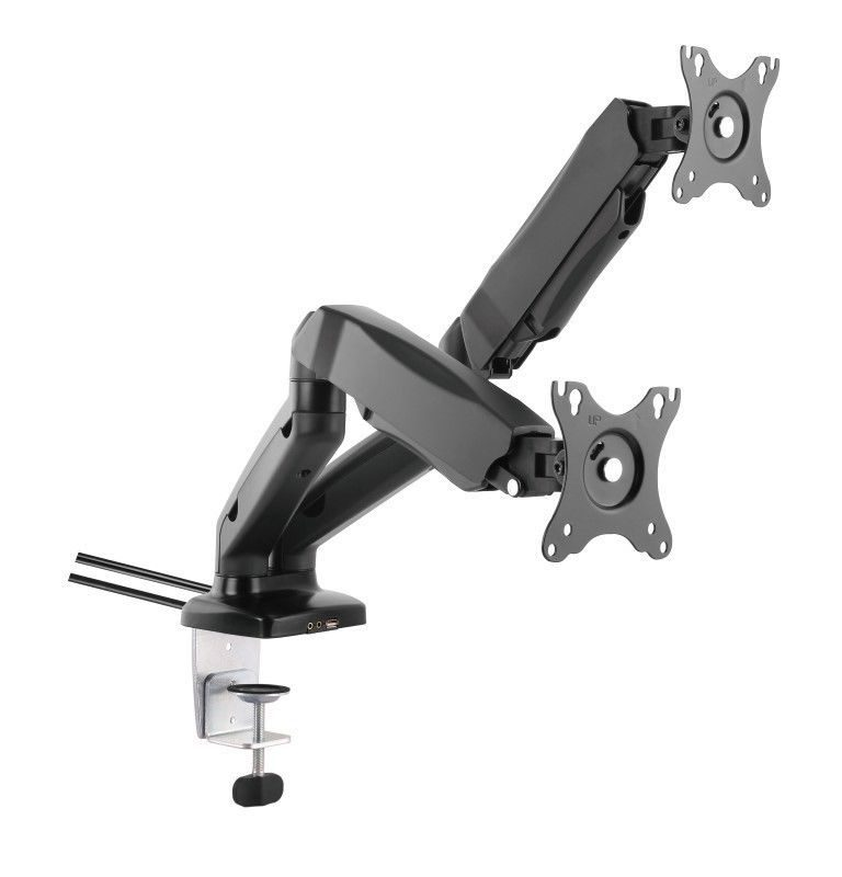 Twin Dual LCD Monitor Gas Counterbalance Arm Desk Mount 13-27 Tilt Swivel w/USB