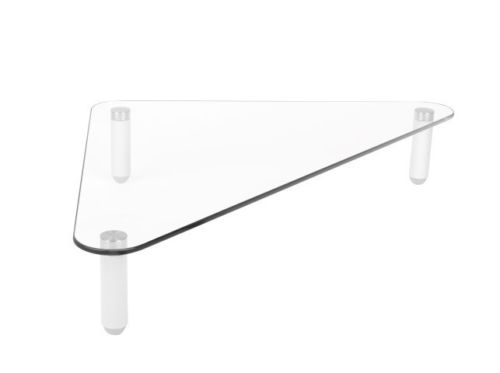 Triangle Corner Clear Glass Computer Imac Monitor TV Screen Riser Mount Stand