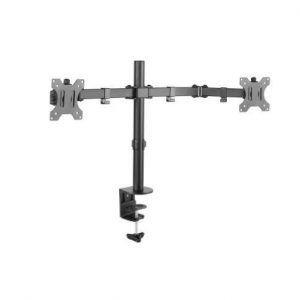 Dual LCD Monitor Double Jointed Steel Arm Desk Mount 13-32 Tilt Swivel Rotate